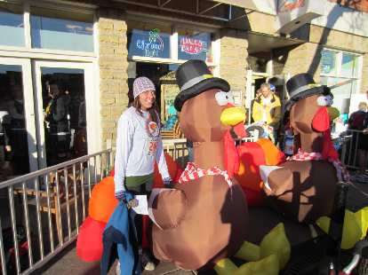 Kelly with the blow up turkeys.