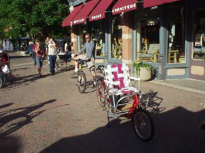 """A """"tandem"""" with a lawn chair.  Whoever would ride in the lawn chair had it good."""