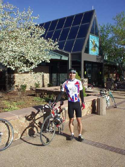 Canny  and I at the Budweiser Visitor Center, the first rest stop.  This is just 3 miles from home.
