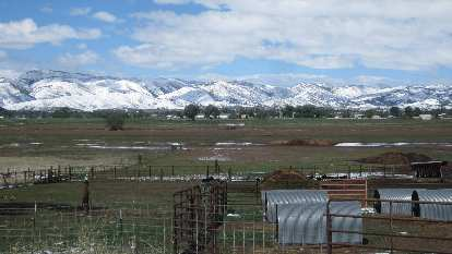 Snow in the foothills west of Fort Collins in May.