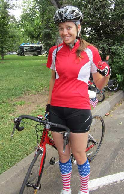 Julie volunteered as one of the two lead bicyclists.