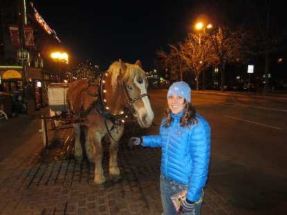 Kelly with a horse down in Old Town.