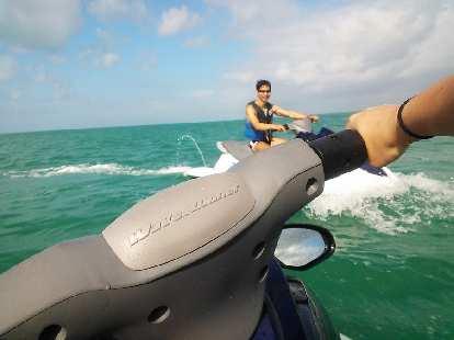 Jet skiing miles west of the shore of Marathon, Florida.