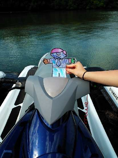 Flat Stanley wanted to drive the jet ski, apparently.