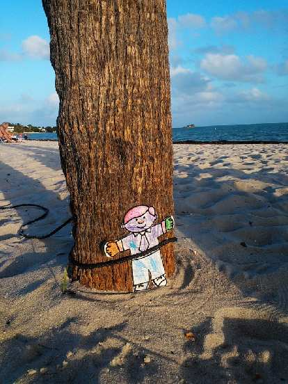 Flat Stanley tied to a tree.