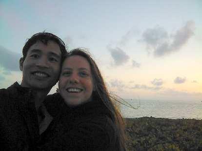 Felix Wong and Kelly watching a last Florida sunset.