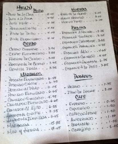 The menu at El Patchanka in Havana Vieja, with prices in CUC (1 CUC ~= 1 USD).