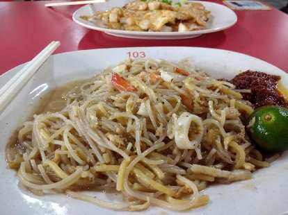 Fried white carrot cake and fried Hokkien Mien.