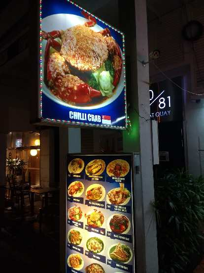 "People recommended trying the ""Chilli Crab"" (sic) in Singapore, but we did not get an opportunity to."