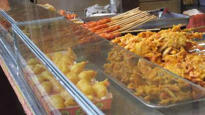 Fried foods sold at the Yuyuan Tourist Mart in Shanghai.