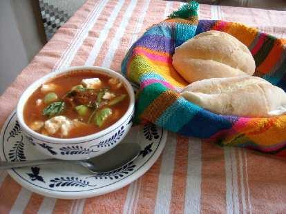 Widhar's sopa azteca at El Descanso in Teotitlan del Valle.