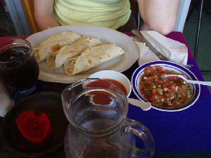 Eating delicious Mexican food at a Mexican Restaurant off of Avenida Central.    Panamanian cuisine does not use many tortillas unlike Mexican food.