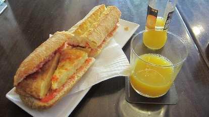 A Spanish omelette bocadillo.