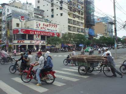 KFC in Saigon, and how to transport a bunch of poles.
