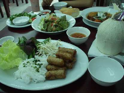 Vermicelli with spring rolls in Saigon.