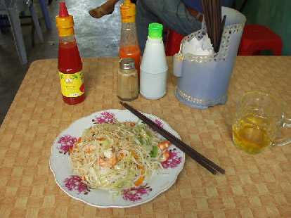 Noodles with shrimp and Vietnamese tea in Hue.