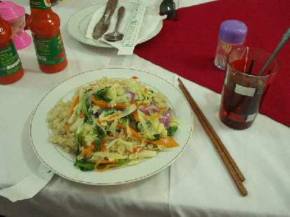 Rice and vegetables and Lipton tea for lunch during DMZ Tour.