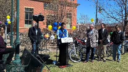 representative from Zagster, Fort Collins Bike Share ceremony