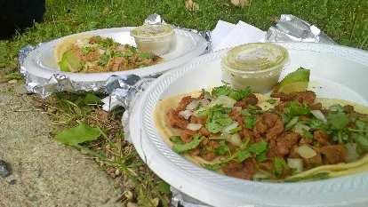 chicken tacos, beef tacos