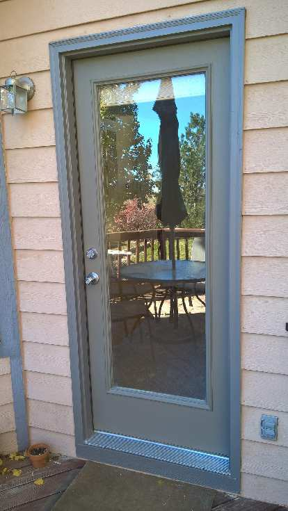 newly painted grey rear door, after photo