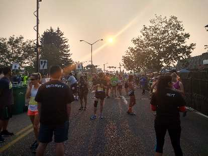 Due to smoke from wildfires from around the country, the sun had a pretty surreal glow before the race.