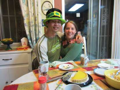 Kelly and I were wearing lots of green for St. Patrick's Day.