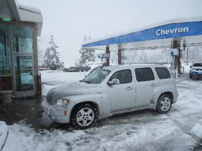 The Chevrolet HHR rental car west of Reno, where we took off the chains that we had to use on the front tires for 60 miles to get over Donner Pass.