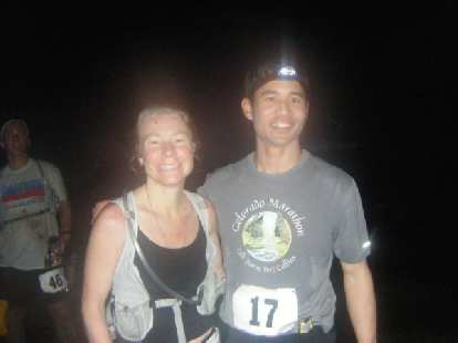 Thanks to Cat for running together with me on 62 miles of super muddy, rocky trails, and congrats on her 1st place woman finish in her first 100k
