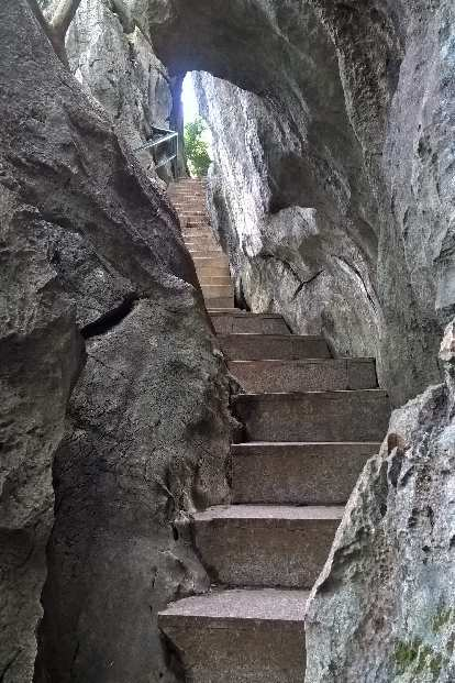 Stairway into the Fujian Linyin Stone Forest.
