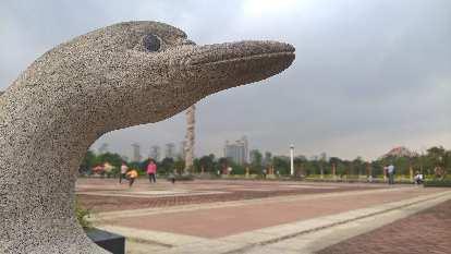 Stone bird statue outside the China Museum of Fujian-Taiwan Kinship.