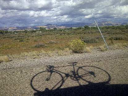 Nice shot of the bike's shadow while driving down Interstate I-70 through Colorado on the way to California.