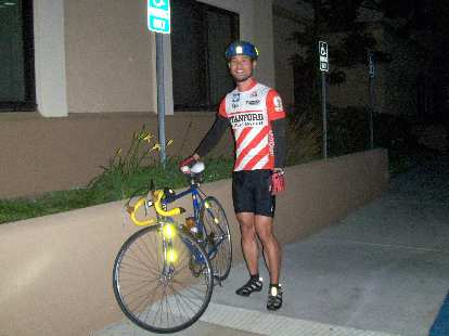 [Race day, 6:06 a.m.] Felix Wong ready to roll to the start of the race in Santa Clarita.