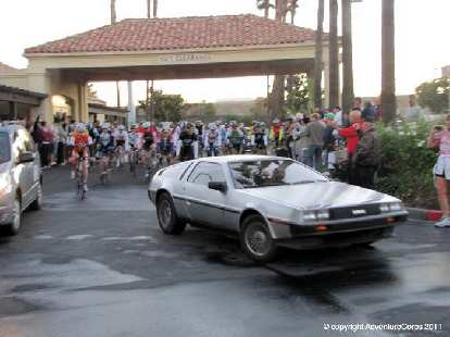 """[Mile 0, 7:00 a.m.] The race begins!  Adventure Corps race director Chris Kostman leads us out in a DeLorean as this year's race theme was """"Back to the Future."""""""