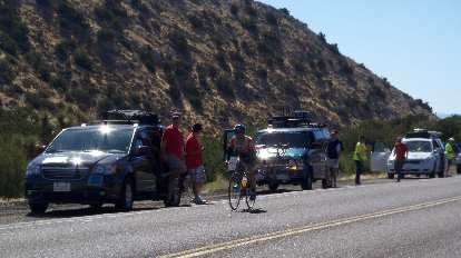 [Mile 58, 11:04 a.m.] Cresting the top of Mountain Section 2.