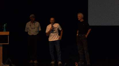 """Three of the four """"fathers of ultracycling""""---Lon Haldeman, John Howard, Michael Shermer, and John Marino---reminisced about the first Race Across America in the pre-race meeting.  They'd all race again in this year's edition of the Furnace Creek 508."""