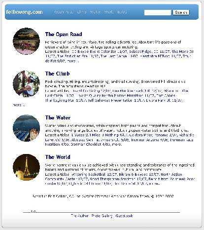 """[2004-2007] The site still contained four main groups for an """"earth theme"""" (Open Road, Climb, Water, World).  Early 2005 was notable for going to a blog format and dynamically-generated web pages."""