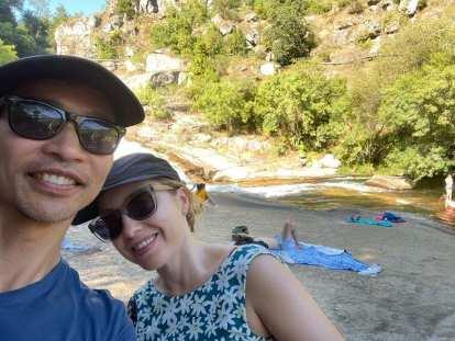 Felix and Andrea at a waterfall on the Ruta Fervenza de Segade in Caldas de Reis.