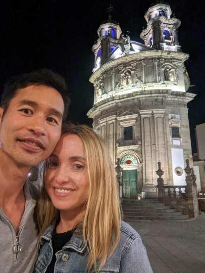 Felix and Andrea in front of the Iglesia de la Virgen Peregrina in Pontevedra.