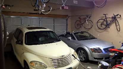The Garage Mahal 2 in July 2016. The vehicles have changed a lot over the years. The bike hanging off the ceiling is my friend Erika's while she does Peace Corps in Ecuador.