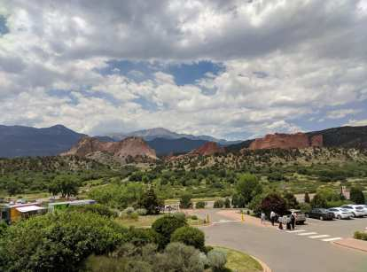 Garden of the Gods as seen from the visitor center's parking lot.