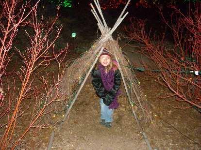 Faith in a teepee her size.
