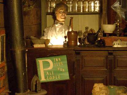 A mock pharmacy at the Ghost Town Museum.
