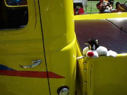 In the midst of a heat wave, we went to Pleasanton (~95 degrees) for the Good Guys Nationals, a hot rod show.  We saw some friends including Sylvester...