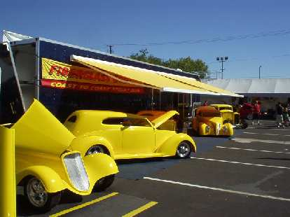 In the swap meet area were these 5 fiberglass cars that could serve as a foundation for one's own hot rods.