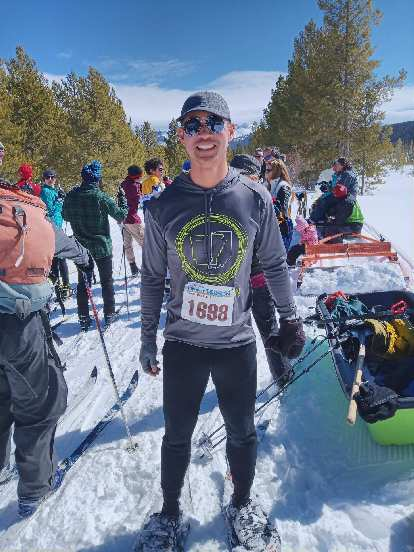 Felix Wong at the start of the Gould Snowshoe Stomp 5k (actually was 2.7 miles).