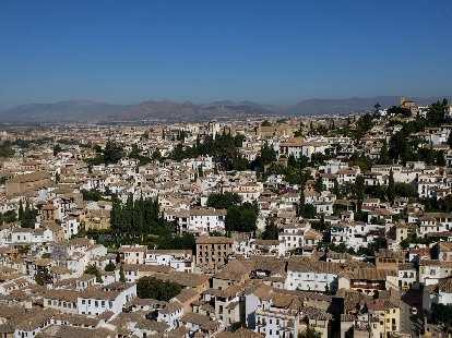Albaicín, the old Moorish quarter of Granada, as seen from the Alhambra.