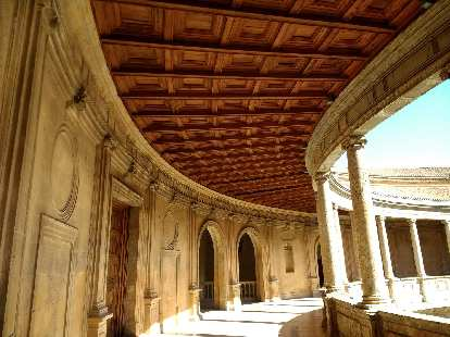 Ceiling detail of the circular patio of Palacio Carlos V.