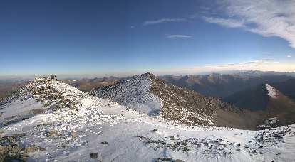 The summit of Grays Peak (left) with Torreys Peak beyond (center of photo).