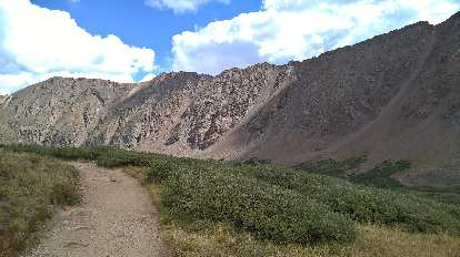 The trail and steep embankments to the right.