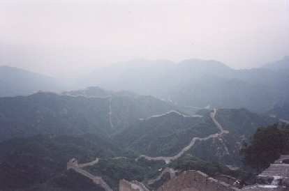 The view below after climbing the Great Wall of China at Badaling.